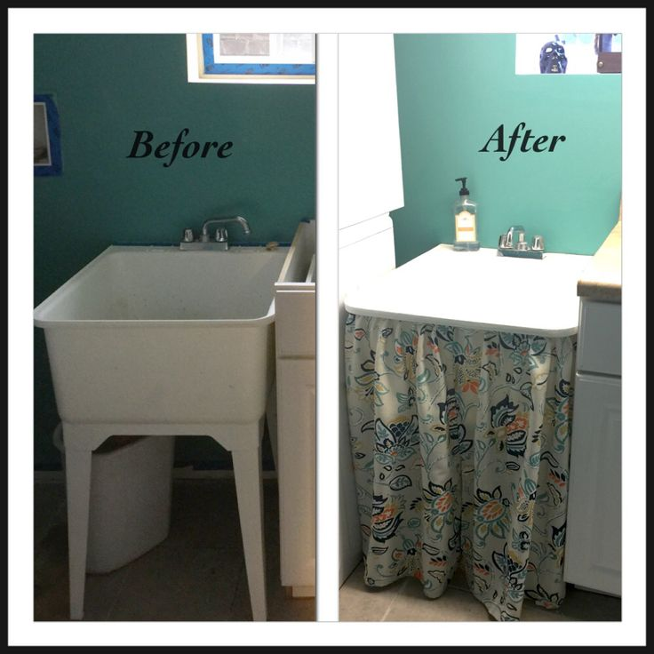 Beginning of my laundry room makeover.  Painted it Aqua Rapids by Behr and added a homemade skirt to the slop sink.