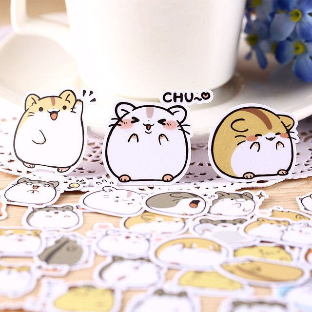 40pcs Kawaii Japanese Hamster Stickers
