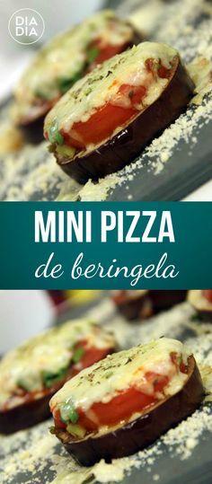 Receita super deliciosa e opção vegetariana para fazer em casa. Mini Pizza de Beringela. Receita prática vegetariana.