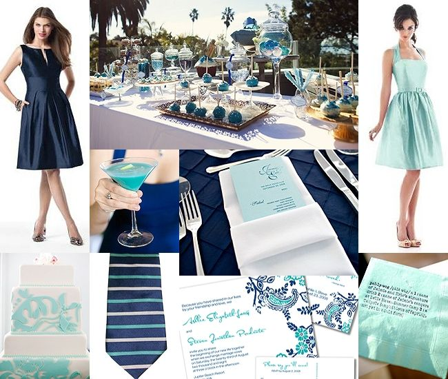 Navy Blue and Aqua Wedding?  Thoughts?
