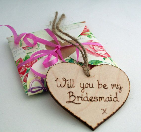 Will you be my bridesmaid / Bridesmaid Invite / Wooden Heart / Be my Bridesmaid / invitation on Etsy, $7.77