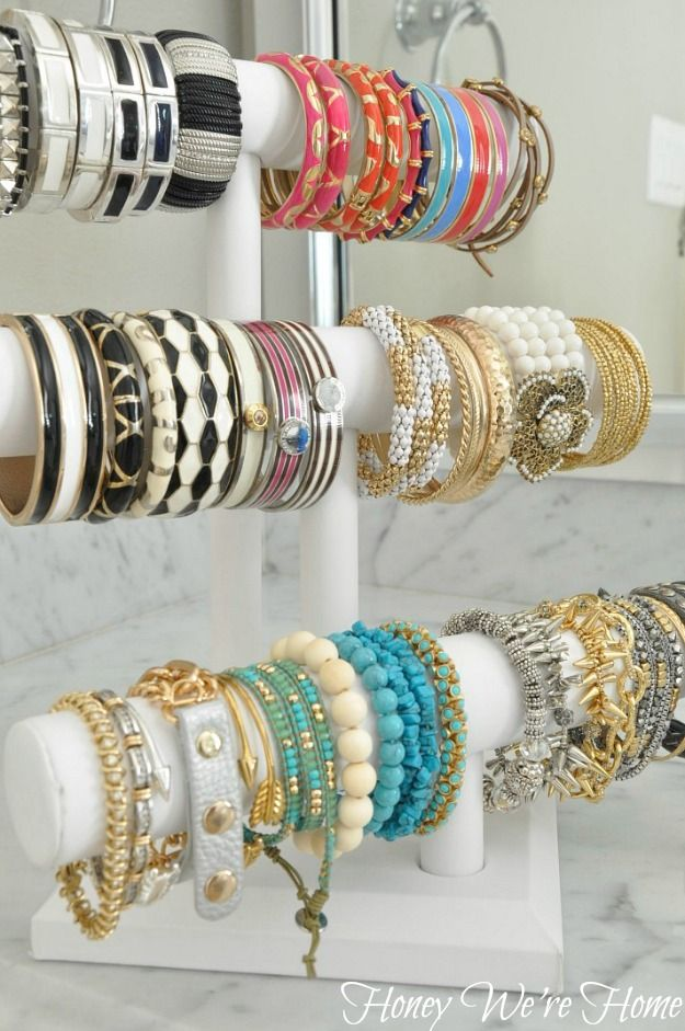 Organize and display all your bracelets with this idea from Honey We're Home