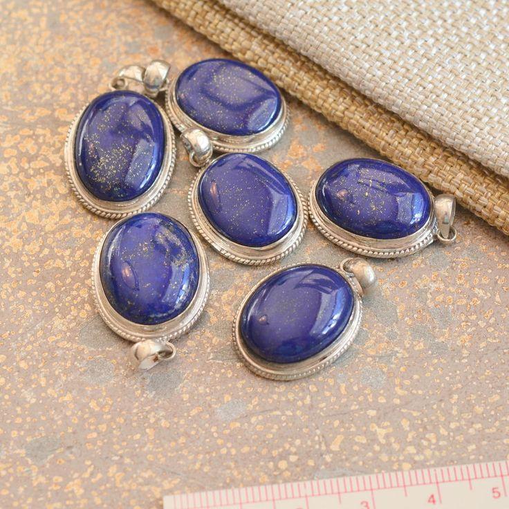 Silver Oval Lapis Lazuli Pendant, Lapis Pendant, Dark Blue Lapis Pendant, Sterling Silver, Nepal Pendant, Nepalese Jewelry, One, BID15-1124 by WanderlustWorldArts on Etsy