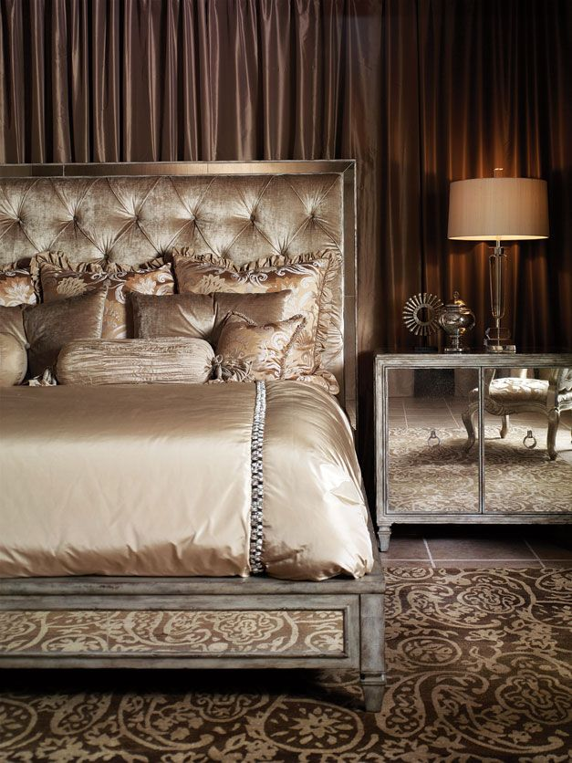 Luxurious Master Bedroom decor. Gold bed. Rug with modern patterns. Gold table lamp. Master bedroom ideas. For more inspirational ideas take a look at: www.bocadolobo.com
