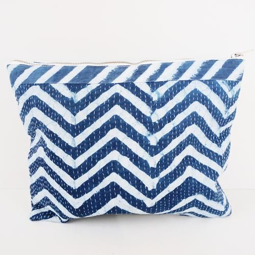 POUCH BY TIKAU (LARGE, BLUE/WHITE ZICKZACK )