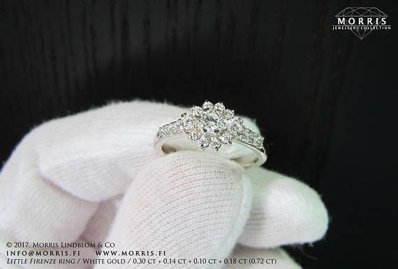 Delicate Solid White Gold Ring Diamond Halo Setting Engagement
