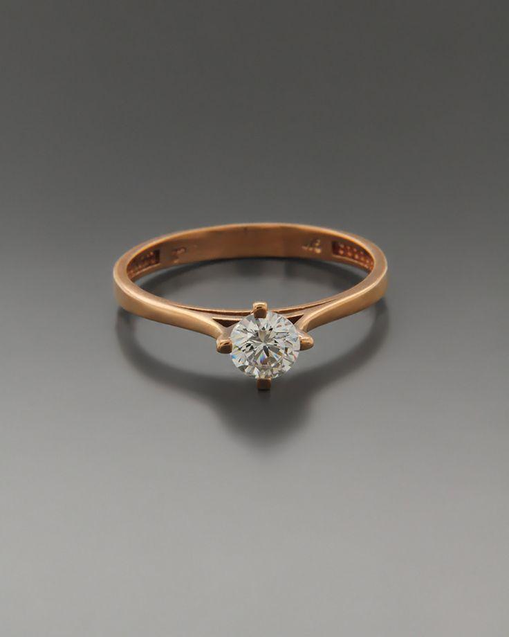 Μονόπετρο δαχτυλίδι ροζ χρυσό Κ14 με Ζιργκόν