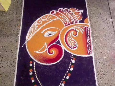 Wonderfully done Ganesha Rangoli