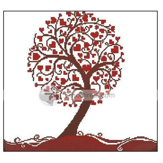 Heart Cross stitch tree