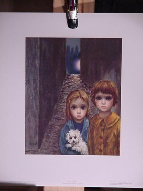 """2 Walter Margaret Keane Lithograph Prints 1960's """"Lost"""" & """"The Gypsies"""" Big Eyes #PopArt"""