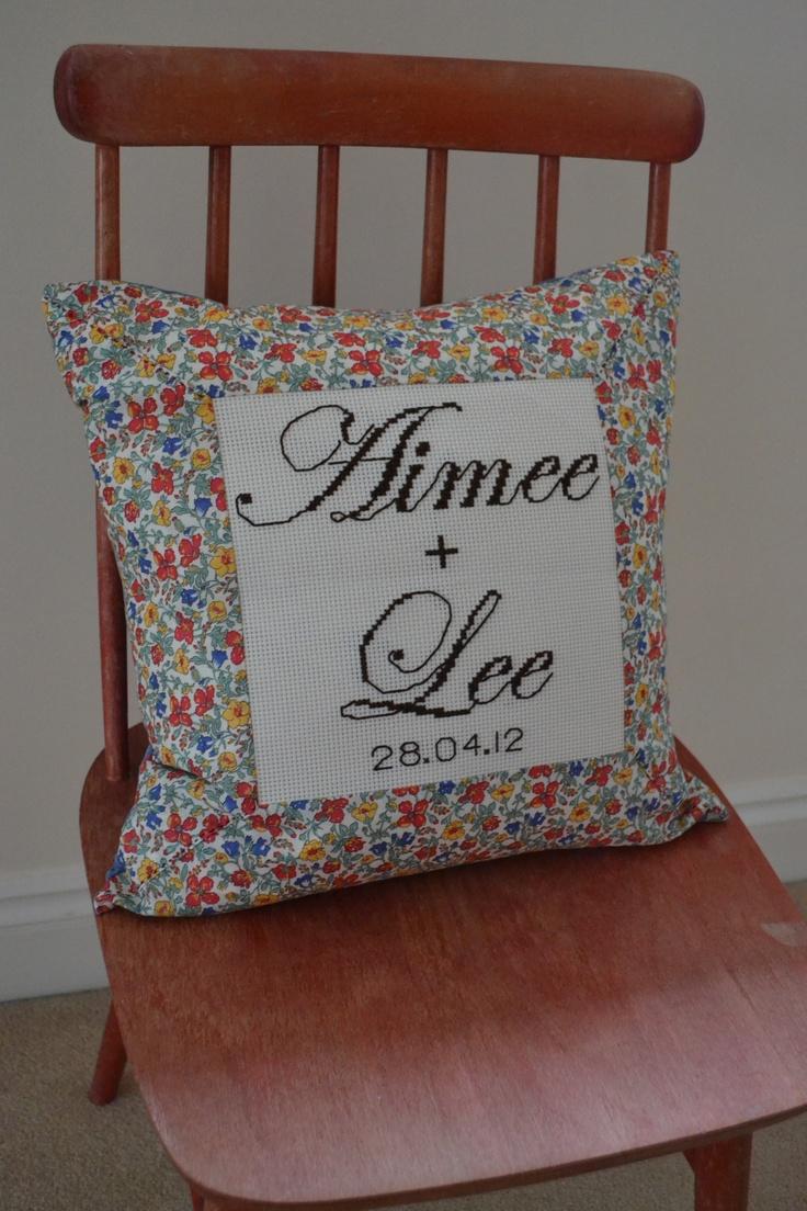 wedding cushion I made for my ever stylish friend