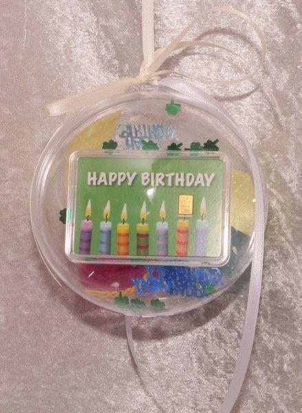 Geschenke für Frauen - 1g Goldbarren in dekorierter Acrylkugel Geburtstag - ein Designerstück von gp-metallum-de bei DaWandahttp://www.gp-metallum.de/1-Gramm-Gold-Geschenkbarren-Motiv-Happy-Birthday-Kerzen-in-Acrylglaskugel-dekoriert