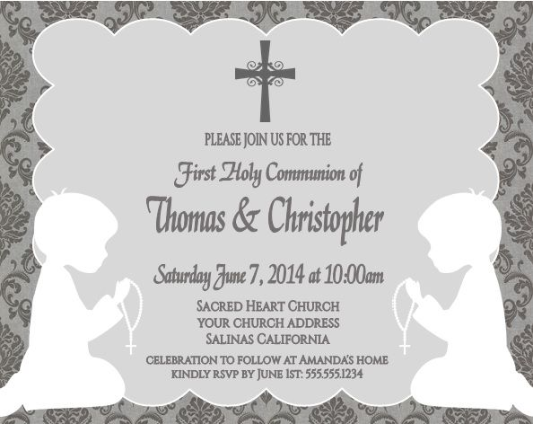 First Communion Invitation Shadow Kneeling Damask Twins Boys And