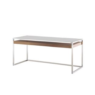 """Basic rectilinear groupings and luxurious materials like white lacquer and anthracite glass are the hallmarks of Didier Gomez's Contours line, which includes this generously proportioned writing desk. Height: 27 1/2"""", Width: 69"""", Depth: 29 1/2"""""""