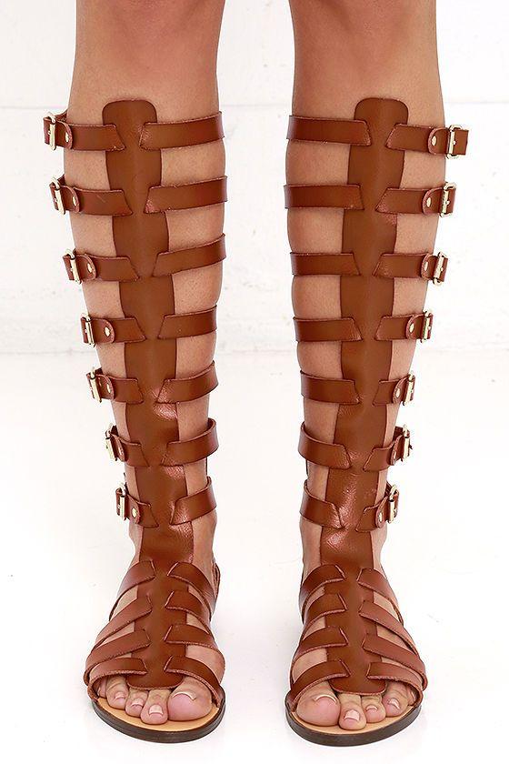 30691168b15d Madden Girl Penna - Cognac Sandals - Tall Sandals - Gladiator Sandals -   79.00