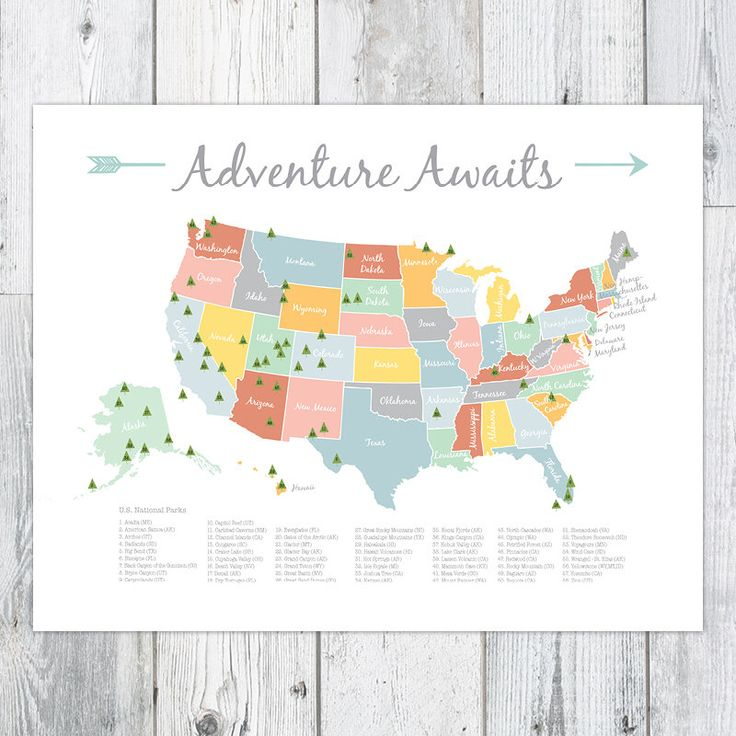 Adventure Awaits Us National Park Map Nursery Kids Print 16x20 By Perpetualdaydreaming