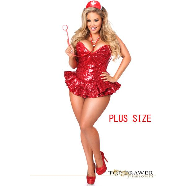 top drawer plus size premium sequin nurse corset dress costume 200 liked on - Size 26 Halloween Costumes