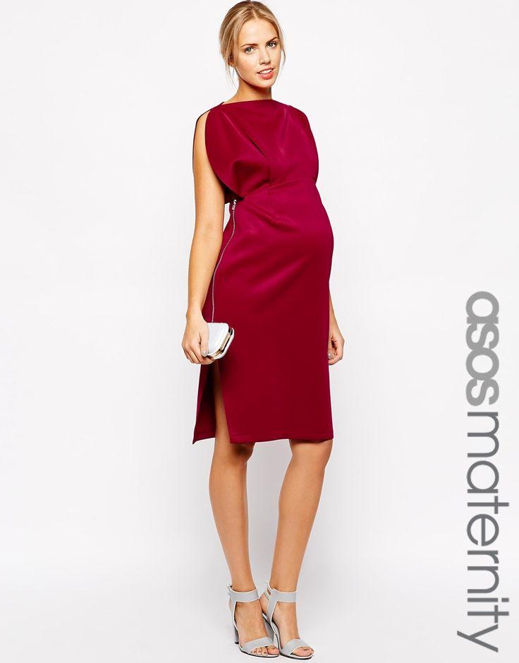 Image 1 ofASOS Maternity Scuba Midi Dress with Fold Sleeve Detail