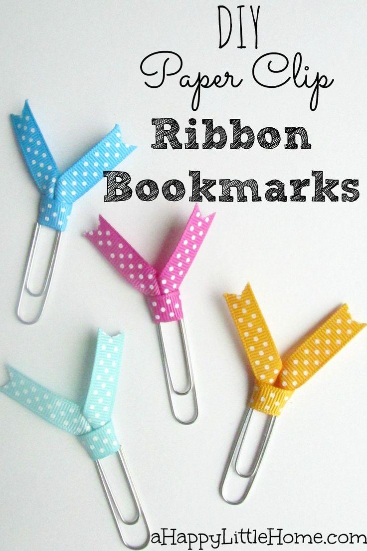 DIY Paper Clip Ribbon Bookmarks Ribbon bookmarks