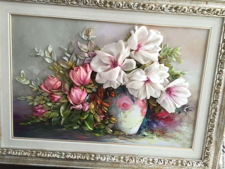 Купить Любимые цветы - бледно-розовый, пионы, розы, букет из роз и понов, Вышитая картина