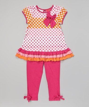 Look what I found on #zulily! Fuchsia Polka Dot Drop-Waist Tunic & Leggings - Infant & Toddler #zulilyfinds