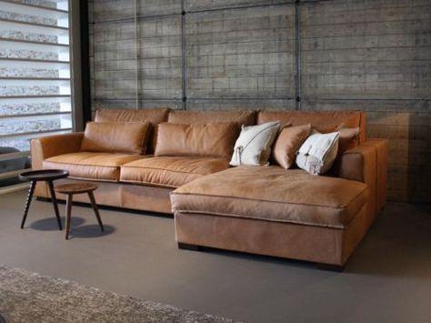 cognac lederen sofa met chaise longue