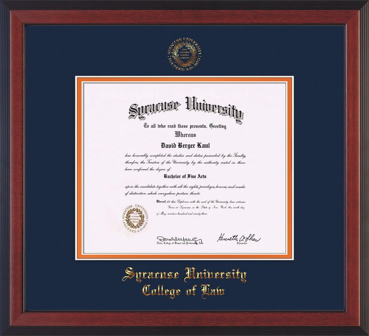 Syracuse University Diploma Frame-Che Reverse-w/SU Law-Navy/Orange mat – Professional Framing Company