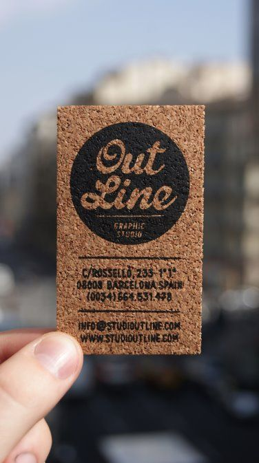 Who needs paper when you have cork! Tarjetas de visitas (serigrafia) by Outline Studio , via Behance
