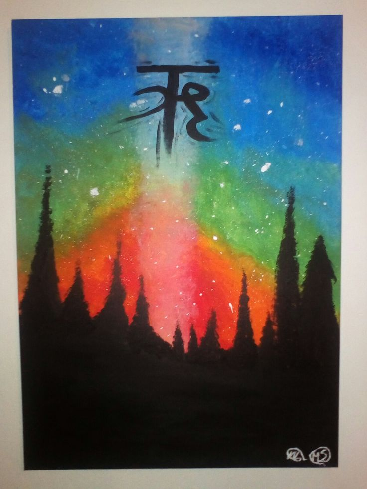 Canvas painting, night sky, DIY, Chinese letter.