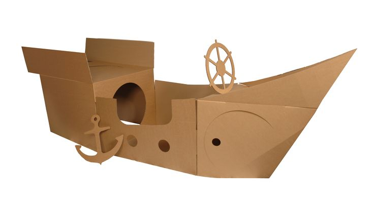 Pictures of a cardboard pirate ship | Cardboard pirate ship - Learning From Play