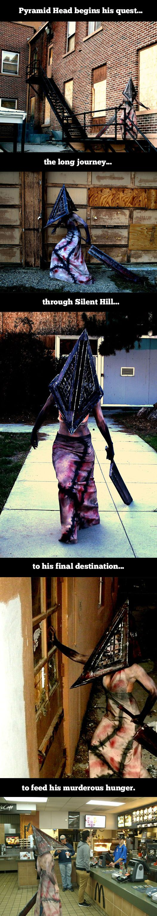 Pyramid head… to all my Silent Hill players. This reminds me of going to the McDonald's by Animazement during the con.