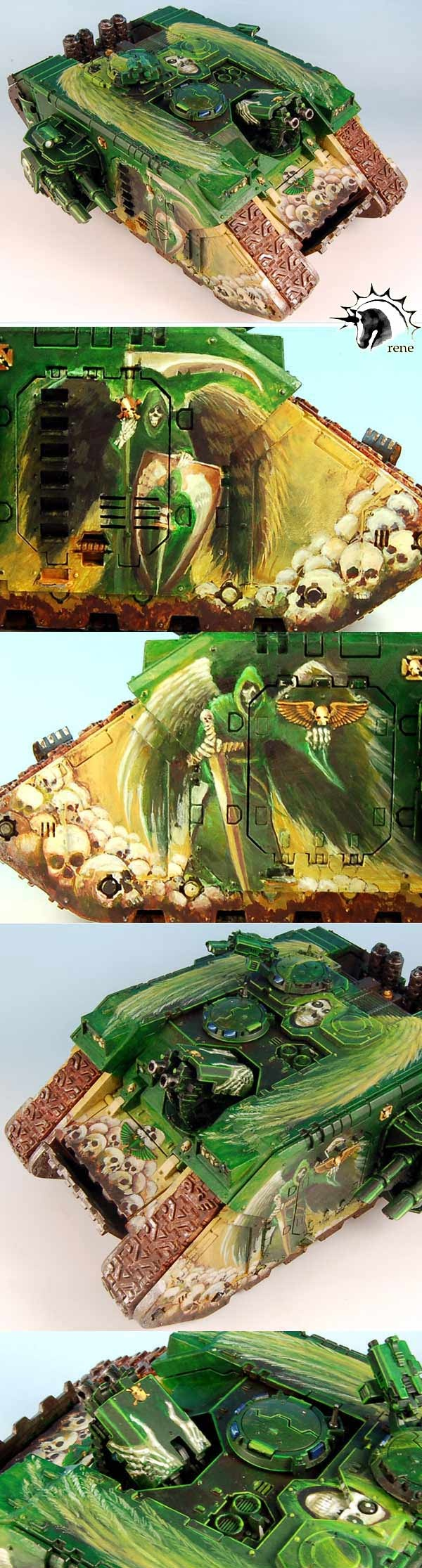 CoolMiniOrNot - WARHAMMER 40K Dark Angels Land Raider by rene  Wow, nice painting