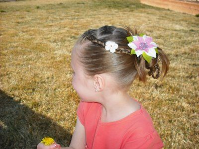 Braids and flowers hairstyle.Hairdos