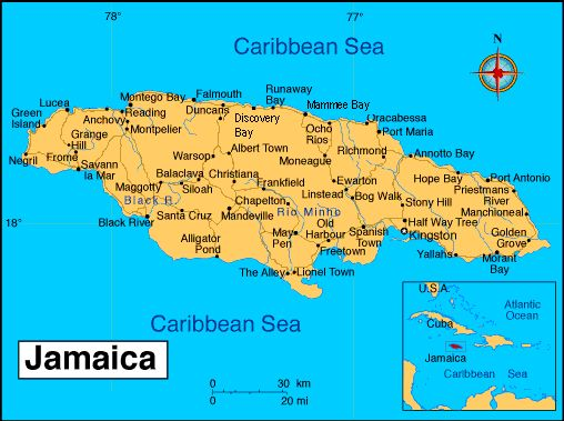 Map of Jamaica. Jamaican Maps and Pictures.