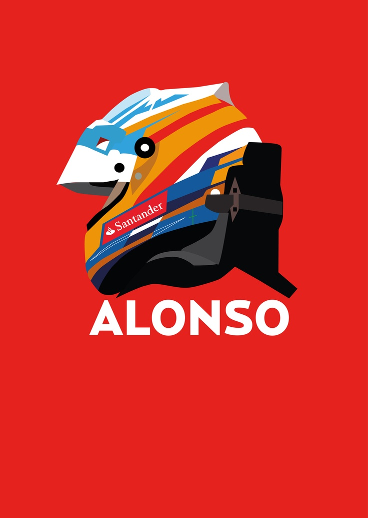 Illustration of Fernando Alonso by me.  Made using Adobe Illustrator CS5