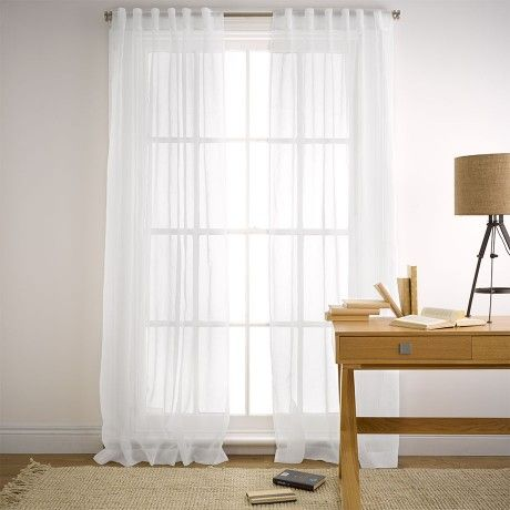Mineral White Sheer 140x230cm Concealed Tab Top Curtain | Bedroom ...
