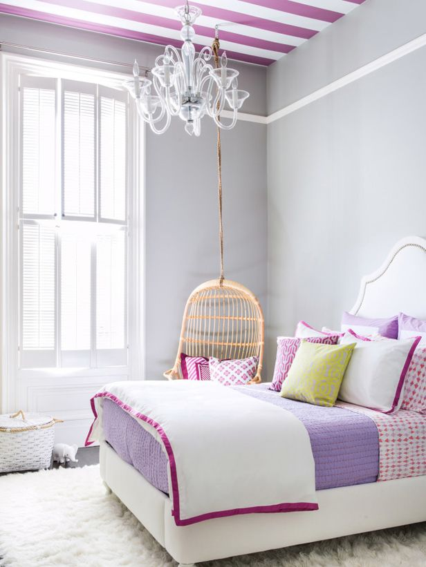 Go modern with orchid: Pair with bright white and citron. (http://blog.hgtv.com/design/2014/03/05/radiant-orchid-color-of-the-year-2014/?soc=Pinterest)Girls Bedrooms, Colors, Kids Room, Girl Bedrooms, Room Ideas, Hanging Chairs, Big Girls Room, Stripes Ceilings, Girl Rooms