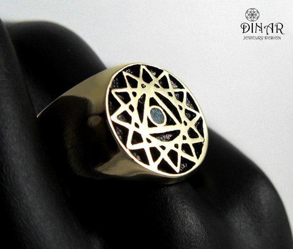 24k Gold plate signet ring gold king salomon by DINARjewelry