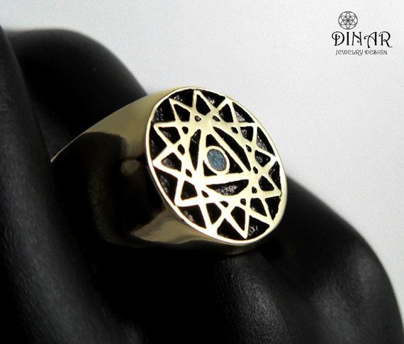 24k Gold plate signet ring gold king salomon by DINARjewelry