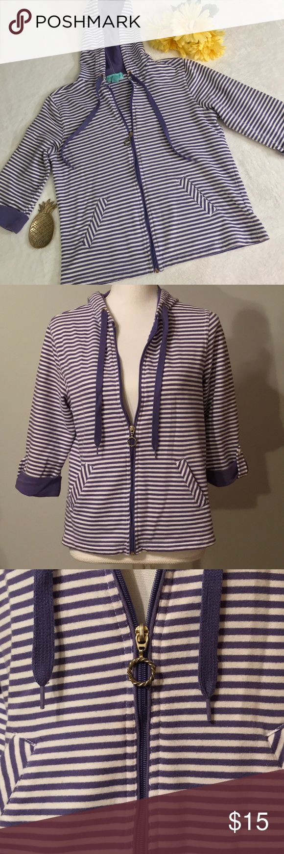 """Silver Wear New York purple striped zip up hoodie Silver Wear New York purple striped hoodie. Purple and white striped hoodie. Full zip up with cute silver circle charm zipper. Quarter length cuffed sleeves. Drawstring hoodie. Lightweight jacket. Size small. Good condition. Measurements taken laid flat. 16"""" shoulder width, 19 ½"""" bust, 22 ½"""" length. Silver Wear Tops Sweatshirts & Hoodies"""