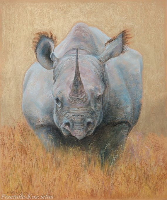 Original pastel drawing on the gold background. by Canis Art Studio. #animal l#art #original #pastel #drawing #painting #rhinoceros #earth #africa #safari #decorative #home #decor #design #canisartstudio