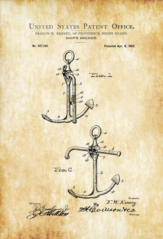 Patent print poster of a Ship's Anchor designed by Francis W. Kenney. The patent was issued by the United States Patent Office on April 8, 1902. Patent prints allow you to have a piece of history in…MoreMore