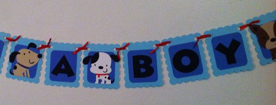 Its A Boy Puppy Theme Banner, Its A Boy Baby Shower, Puppy Party Decorations, Party Supplies, Diaper Cake Decorations, Baby Boy, Blue, Dogs on Etsy, $13.87