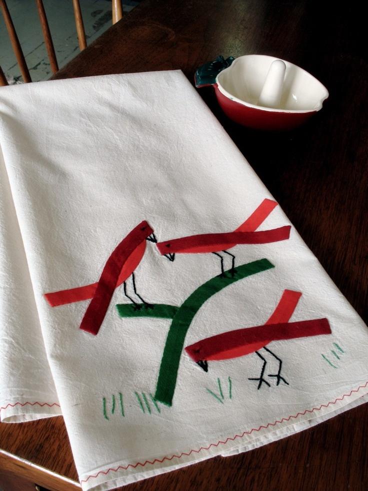 Vintage Cotton Dish Towel 3 Cardinals Red Bias Tape Sweet Original Design. $10.00, via Etsy.