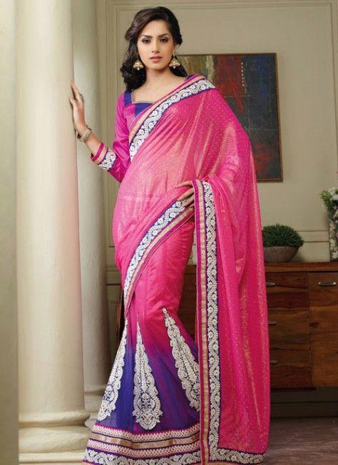 Voguish #Pink & #Blue Embroidered #Lehenga Style #Saree
