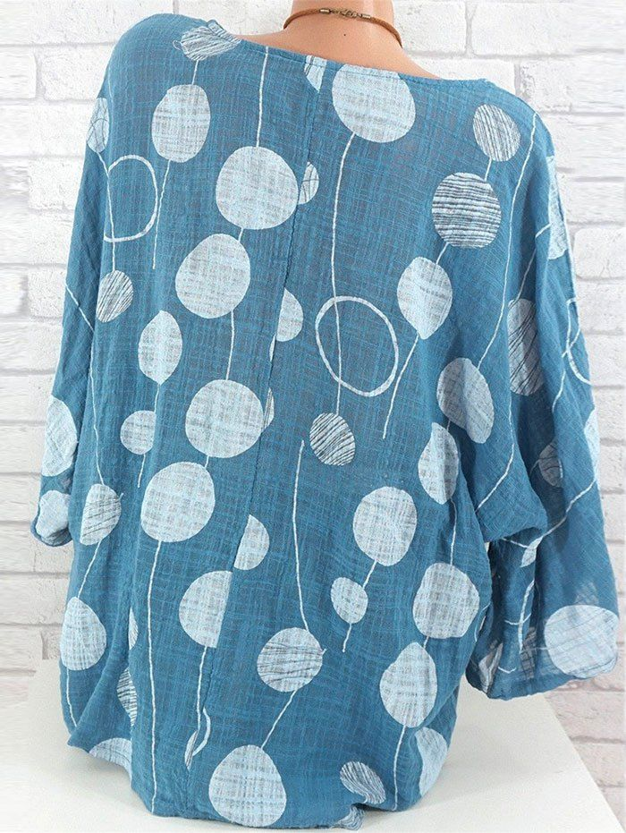 Plus Size Polka Dot Batwing Sleeve Blouse 3