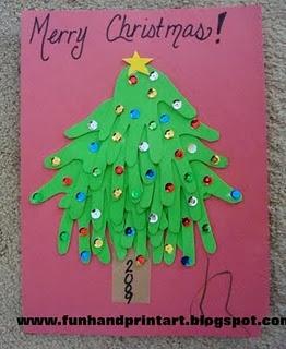 Handprint Xmas Tree: Hands Prints, Xmas Trees, Art Crafts, Idea, Christmas Crafts, Christmas Tree Crafts, Christmas Trees Crafts, Kids Crafts, Handprint Christmas
