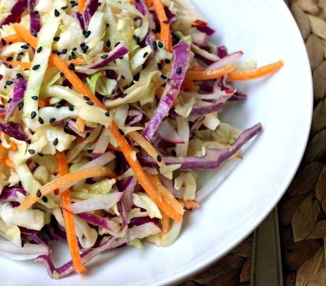THE SIMPLE VEGANISTA: Asian Slaw Salad + Miso Ginger Dressing