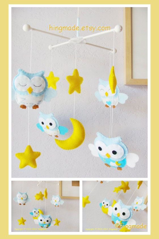 Baby Mobile - Crib Mobile - Felt Mobile - Modern Mobile - Bird Owl Mobile - Blue White Owls in a Yellow starry night(U can pick your colors)