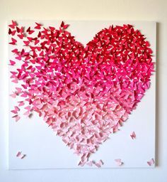 3D Pink Ombre Butterfly Heart/ 3D Butterfly Art / by RonandNoy